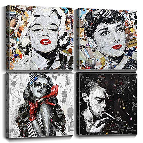"Pop Fashion Art Marilyn Monroe Audrey Hepburn Canvas Prints Wall Decor Framed Pictures Vintage Women Paintings Posters Superstar Modern Artwork Home Decoration Ready to Hang Set of 4 Panels 12"" × 12"""