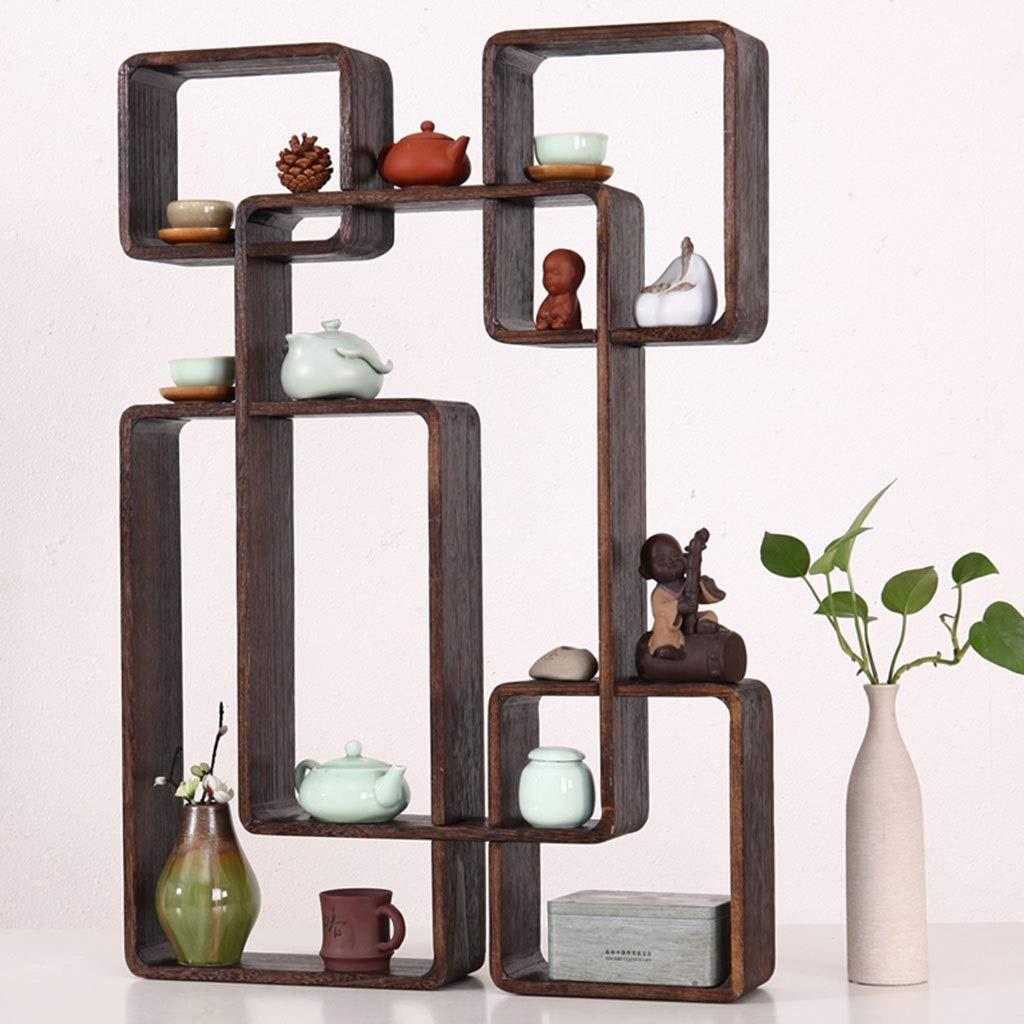 Color : Brown, Size : 80 * 10 * 56cm Wandregal Home Decoration Frame B/üro Kombination B/ücherregal Wohnzimmer Cube-Ausstellungsstand Lattice B/ücherregal Retro Holz-Rack