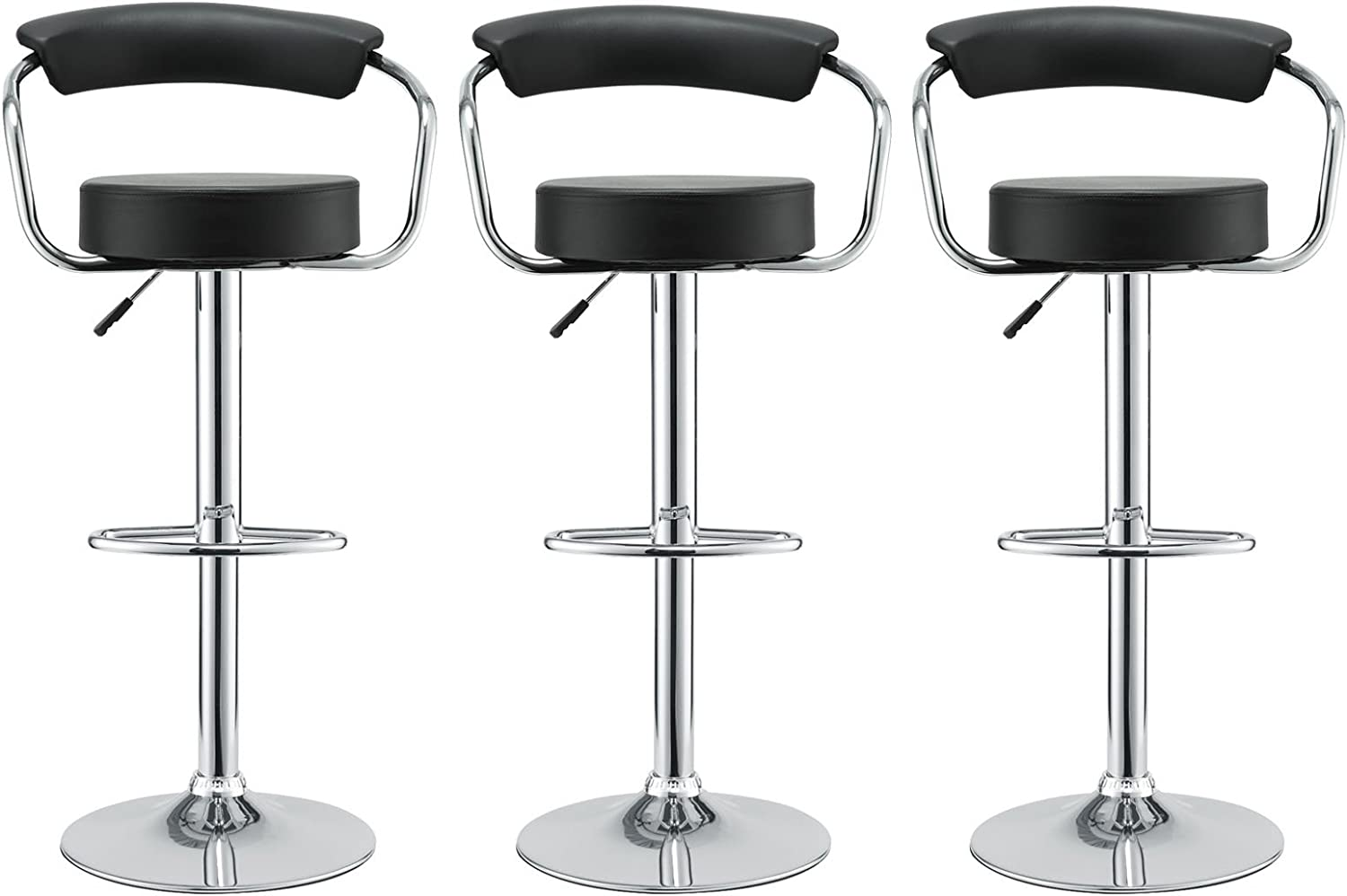 Modway Diner Vintage Modern Faux Leather Upholstered Three Adjustable Swivel Bar Stools in Black