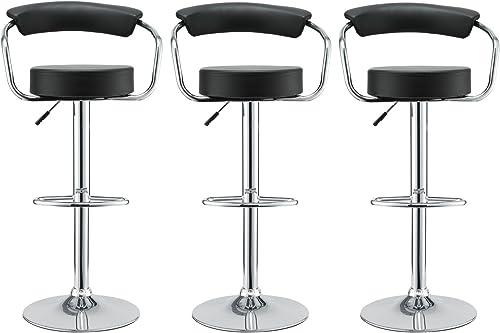 Modway Diner Vintage Modern Faux Leather Upholstered Three Adjustable Swivel Bar Stools in Black