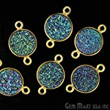 Natural Green Druzy Connector, Bezel Round Shape Connector, 10mm Round 24K Gold Plated,Double Bail 1pc (ZG-11155)