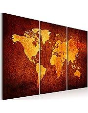 murando Akoestisch Schilderij Wereldkaart 90x60 cm Wandafbeelding Afdrukken op Vlies Canvas Wandfotog 3 delen Paneel Geluidsisolatie Geluidsabsorptie Wanddecoratie Wereld Vintage k-A-0337-b-f