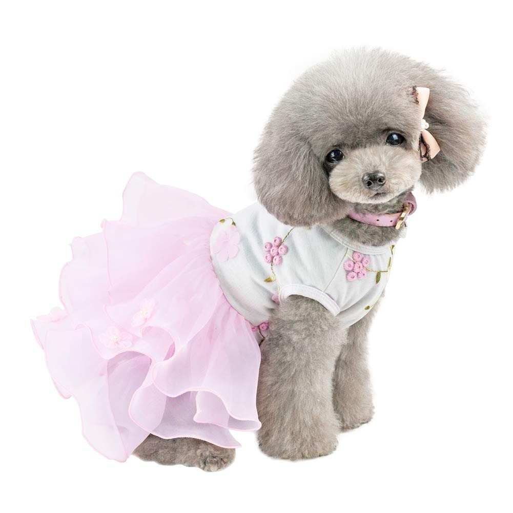 Handfly Small Puppy Dog Princess Dress Lace Skirt Dog Lace Embroidered dresses Small Dog Tutu Dress Skirt Pet Dog Princess Dress Skirts Clothes for small dogs and cats