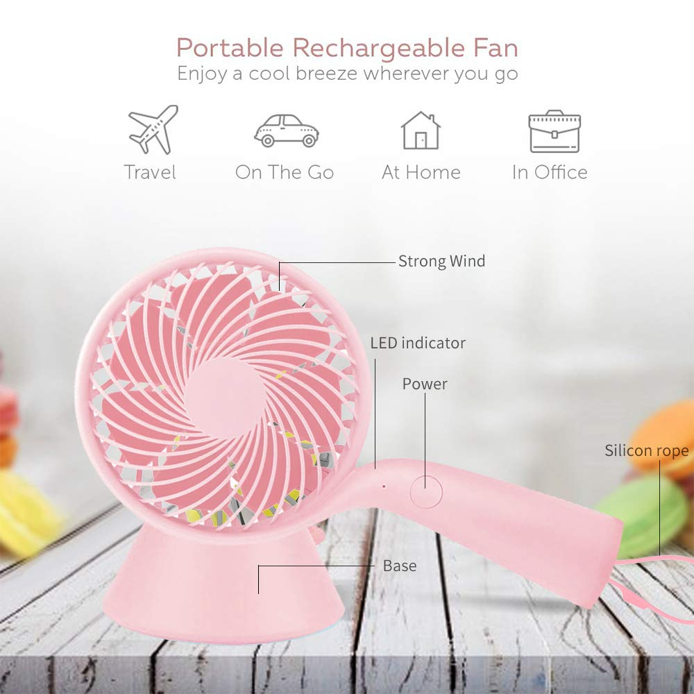 LBTbate Mini Handheld Fan Portable, Hand held Personal Fan Rechargeable Battery Operated Powered Cooling Desktop Electric Fan with Base, 3 Speeds for Home Office Travel Outdoor (Pink)