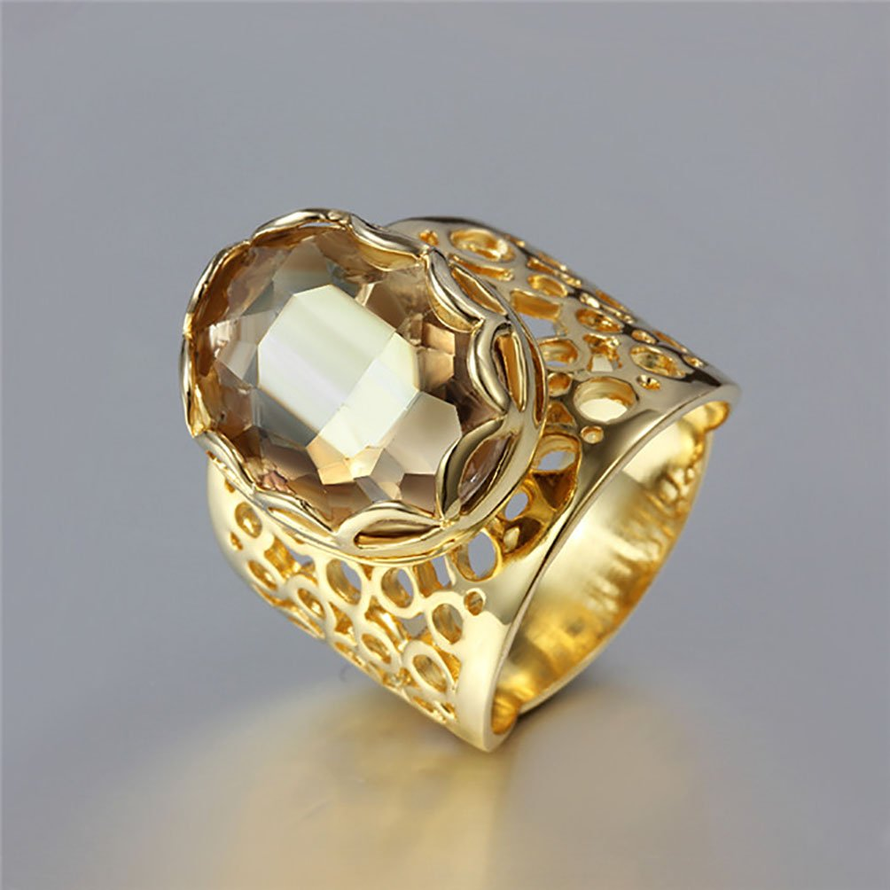 Superhai Diamonds on Personalized Exaggerated The Broadside Hollow Gold Color Ring Champagne-8