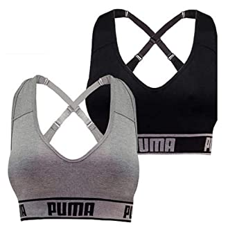 05f132ced6 PUMA Women s Seamless Sports Bra Removable Cups - Adjustable Straps  Moisture Wicking (2 Pack)