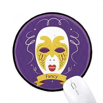 DIYthinker Máscara púrpura feliz Carnaval De Venecia Ronda antideslizante tapetes de ratón Negro Titched Bordes Juego