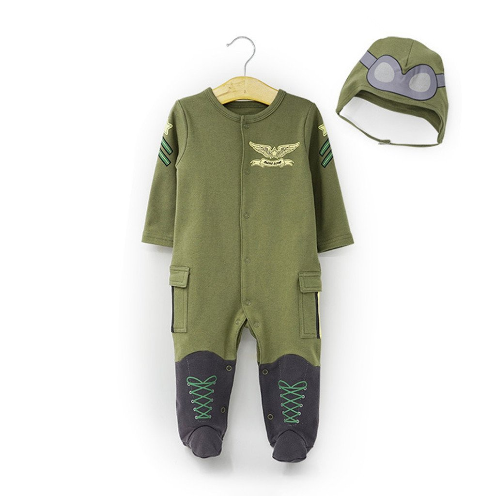 3a99db7015cf Amazon.com  Newborn Layette Baby Outfits Long Sleeve Romper Pilot ...