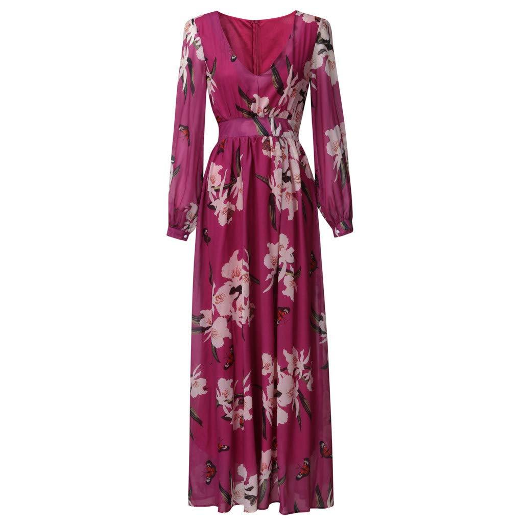 Ultramall Women Fashion Bohemian Floral Printed V Neck Long Sleeve Pleated Chiffon Dress(Hot Pink,M) by Ultramall (Image #5)