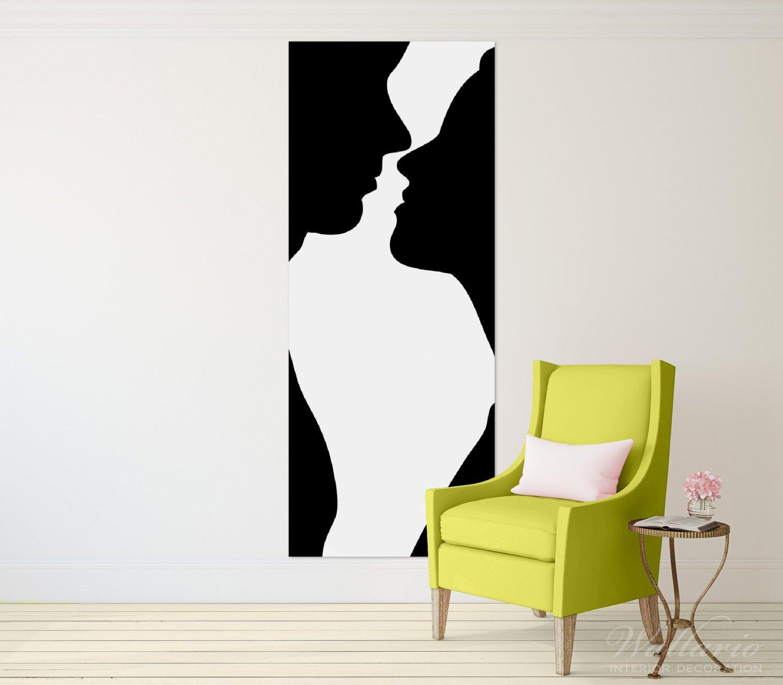 Wallario Wandgarderobe aus Glas in Gr/ö/ße 50 x 125 cm in Premium-Qualit/ät Mann und Frau Motiv 7 Kleiderhaken zum Aufh/ängen von Jacken