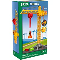 BRIO 33835 Construction Crane with Lights | Wooden Toy Train Set for Kids Age 3 and Up