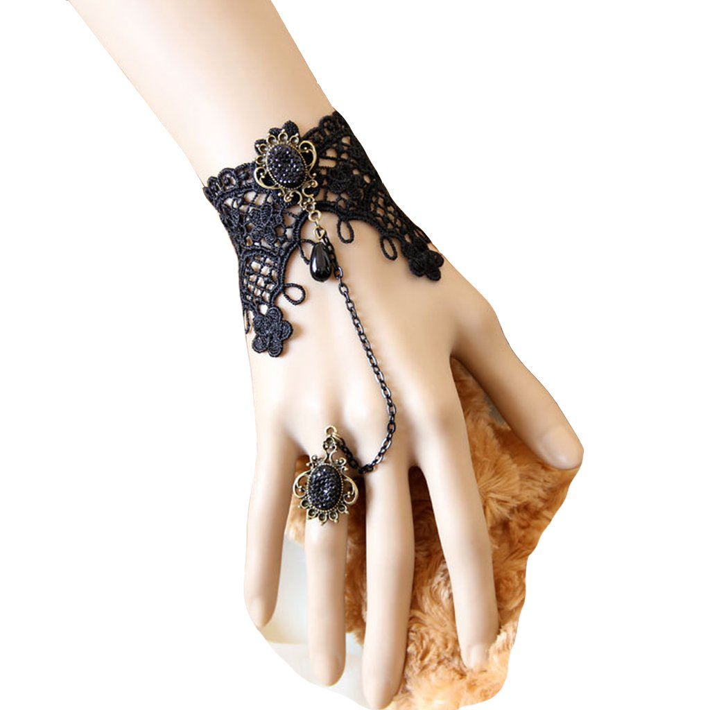 1791s lady Handmade Womens Victorian Medieval Gothic Lolita Lace Bracelet Ring Set