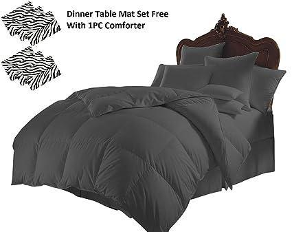 All Season Down Alternative Comforter Egyptian Cotton Cal King Size Black Stripe