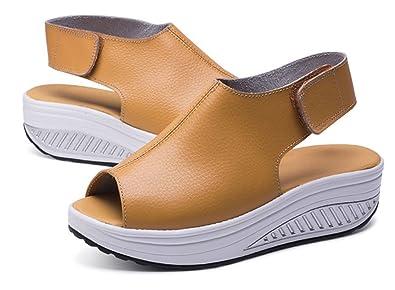 79d0cf72e3b4e7 Hishoes Sandalen Damen Sommer Plateau Keilabsatz Leder Sandalen Peep Toe  Komfort GehenSchuhe Sommerschuhe Offene Zehen