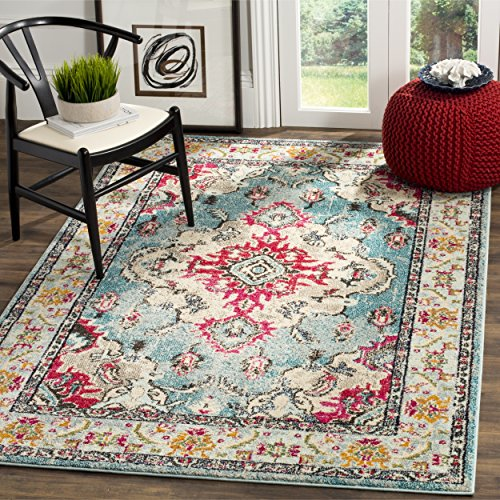 Safavieh Monaco Collection MNC243J Vintage Bohemian Light Blue and Fuchsia Distressed Area Rug (4′ x 5'7″)