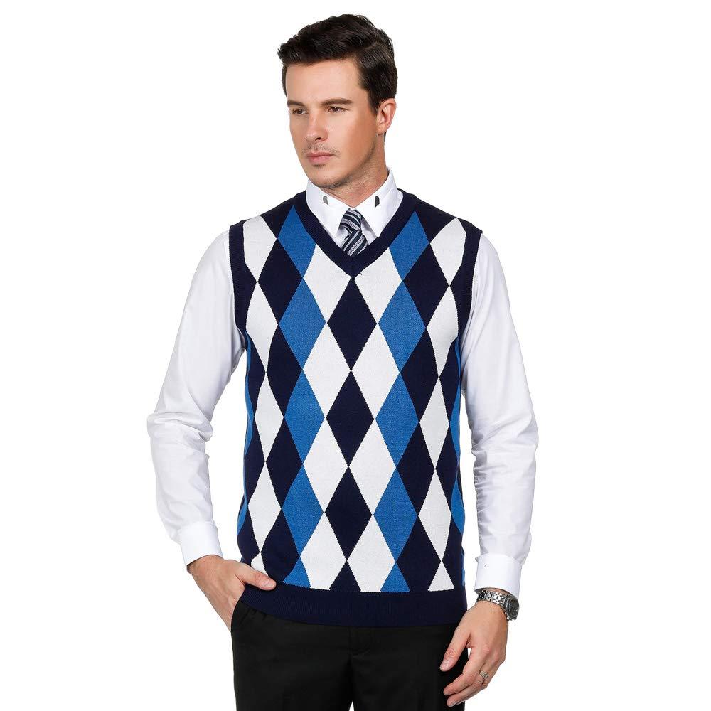 Mens Argyle V-Neck Knit Golf Sweater Vest Business Classic Daily Casual (M,Navy) by PJ PAUL JONES