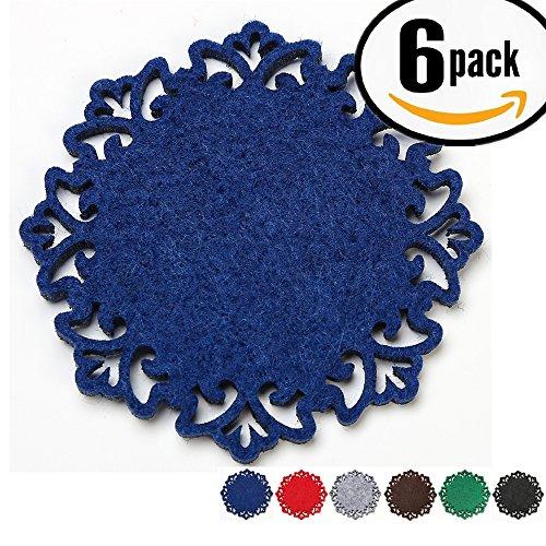 Dulce Cocina Felt Coasters Set of 6 Elegant Hollow Out, 11.5 cm, Blue