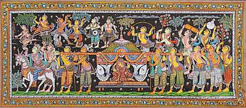 Towards the New Home - Water Color Painting on Tussar Silk - Folk Art From The Temple Town Puri (Ori