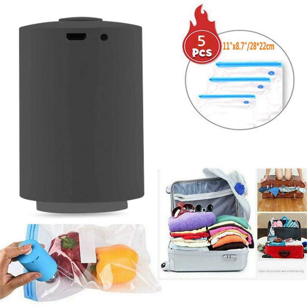 Mini Automatic Compression Vacuum Pump Sealer System Portable Electric Air Pump Rechargeable Multi-Functional Vacuum Pump for Travel (Black)