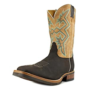 Nocona Western Boots Mens Rubber Outsole Square Toe 10 D Brown MD5330