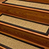 """Studio"" Sisal Carpet Stair Treads 9"" x 29"", Black Cotton Binding (Set of 4)"
