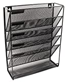 EaseOffice Mesh 5-Tier File Organizer Black Hanging File Organizer Vertical Holder for Office Home