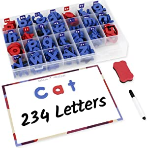 Inspired Thinkers 240 Pcs Magnetic Letters Set - Classroom Educational Alphabet Magnets Kit, Movable Foam Lowercase and Uppercase ABC with Writing Board and Eraser, for Kids Ages 4 5 6 7 8 9 10 11 12