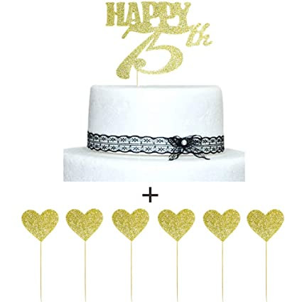 Image Unavailable Not Available For Color Happy 75th Gold Glitter Cake Topper
