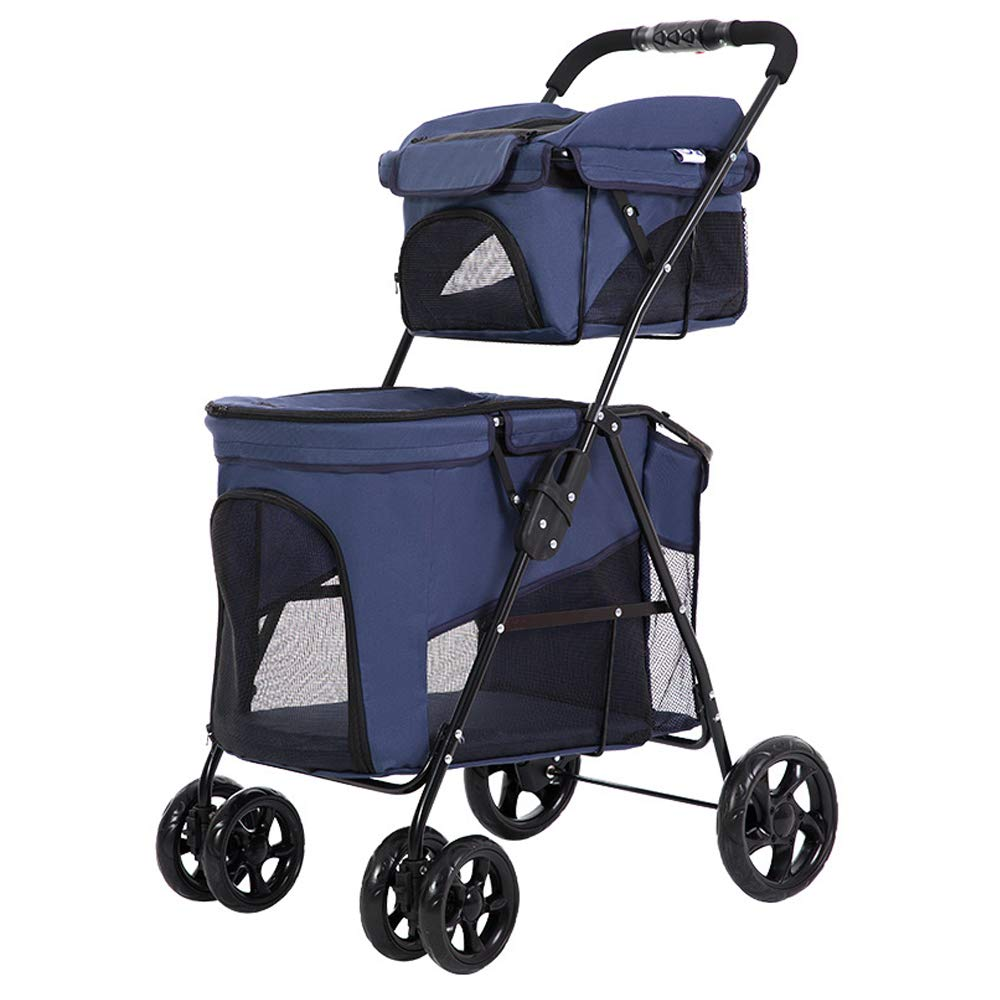bluee Lightweight Foldable Double Layer Pet Stroller,Small Medium Dogs Cats Carrier Strolling Cart Four Wheel Pet Stroller Outdoor Travel Supplies,bluee