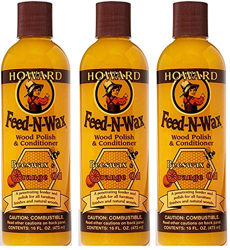 Howard FW0016 Feed-N-Wax Wood Polish and Conditioner, 16-Ounce (3-Pack) Howard Products