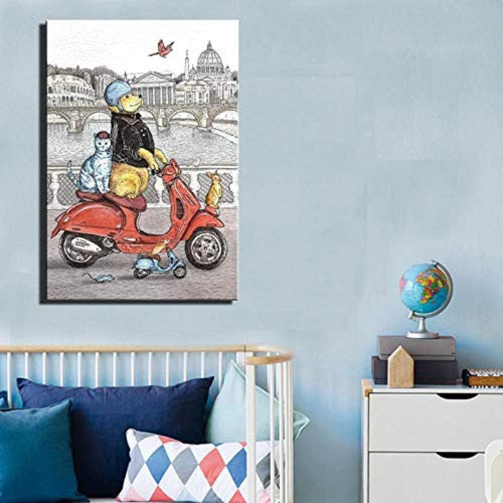 sanjiiNG Cerdo y caballo que conduce el coche Cuadros decorativos abstractos para niños Decoración de la habitación Estilo de dibujos animados Animales Arte de la pared Pintura de la lona 60X80Cm