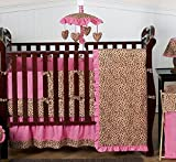 Sweet Jojo Designs 9-Piece Cheetah Animal print Pink and Brown Baby Girl Bedding Crib Set