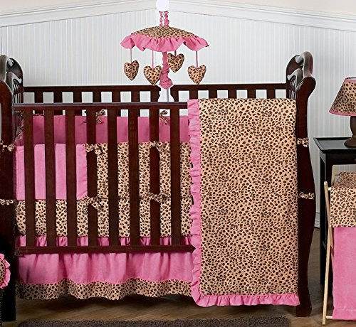 (Sweet Jojo Designs 9-Piece Cheetah Animal print Pink and Brown Baby Girl Bedding Crib Set)