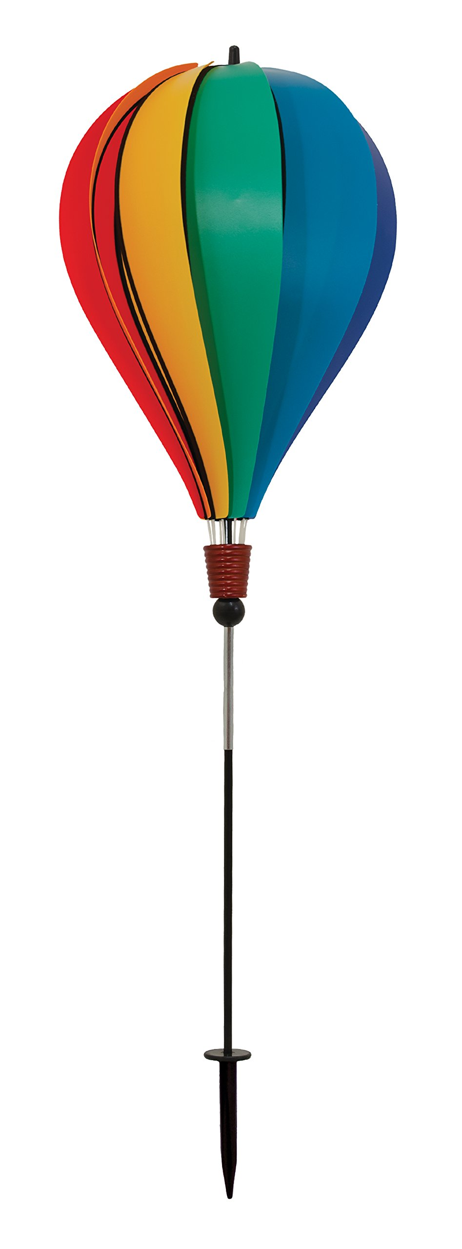 In the Breeze Rainbow Poly 10-Panel Hot Air Balloon Ground Spinner