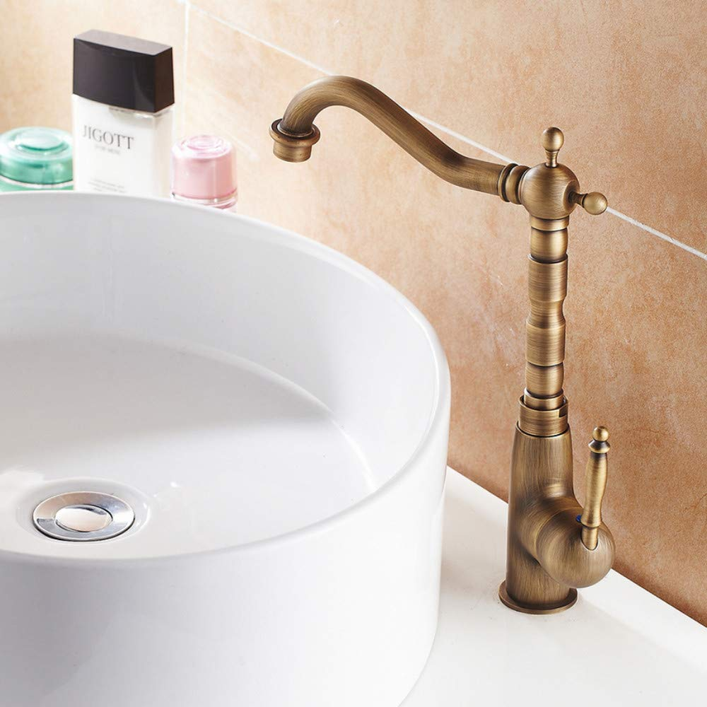 Ayhuir 360 Degree redating Antique Brass Tall Bathroom Faucet Single Handle Hot and Cold Water Lavatory Faucet