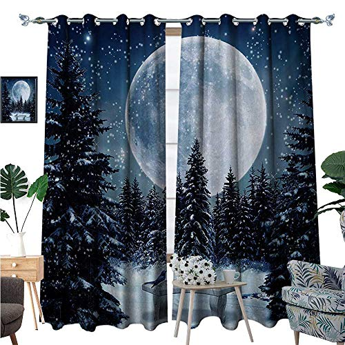 Winter Room Darkening Wide Curtains Dreamy Winter Night with a Big Full Moon and a Bench in Park Stars in The Darkness Customized Curtains W108 x L96 Blue White ()