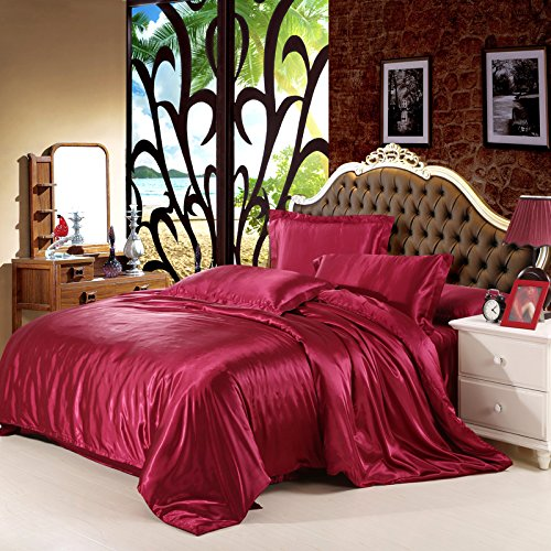 Luxury 4-Piece Satin/Sateen Silky Bed Sheet Set Bedding Collection,Summer Duvet Cover Sets Flat Sheet Set-Wine Red,Queen