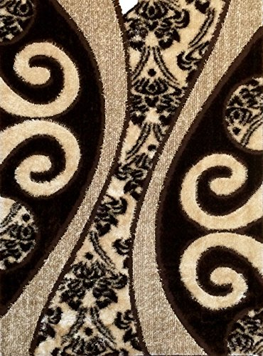 GLORIA RUG Super Soft Indoor Modern Shag Rug Silky Smooth Rugs Fluffy Shaggy Area Rug - Stain Resistant Dining Room Home Bedroom Living Room Carpet (5 x 7, Brown Symmetric Swirl Design 1002) ()