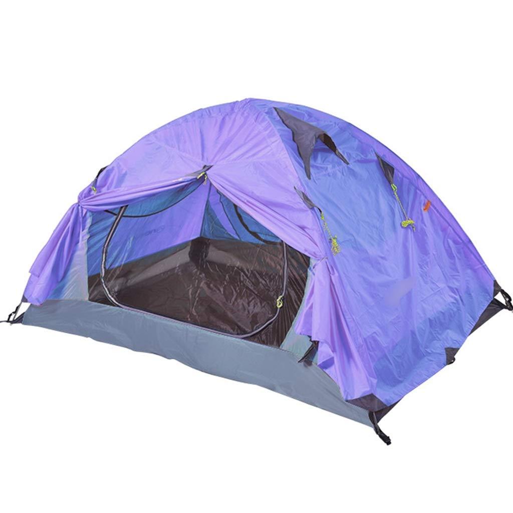 YaNanHome Zelt im Freien Doppeltes regendichtes Zelt-Aluminiummastlichtzelt 1-2 Leute, die Zeltzeltpaar kampieren (Farbe : lila, Größe : 210  140  110cm)