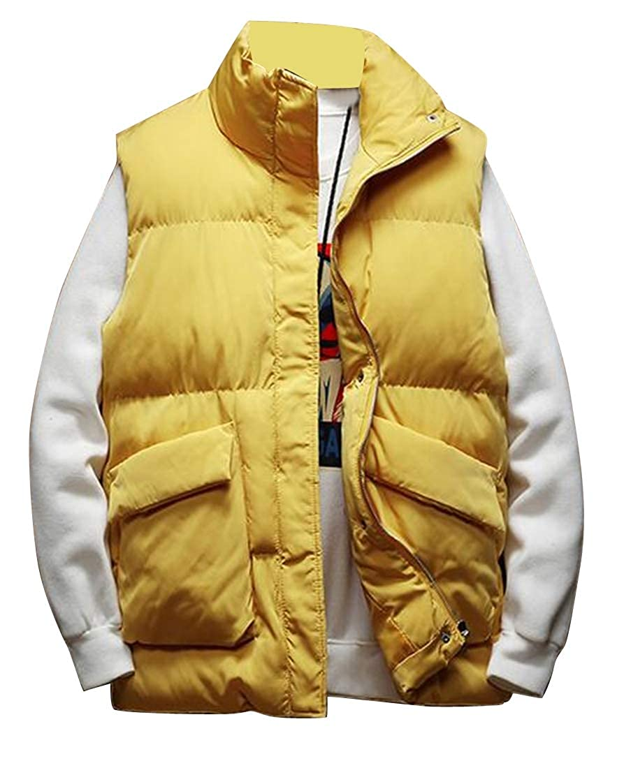Fubotevic Mens Solid Sleeveless Stand Collar Thermal Down Quilted Jacket Waistcoat Vest