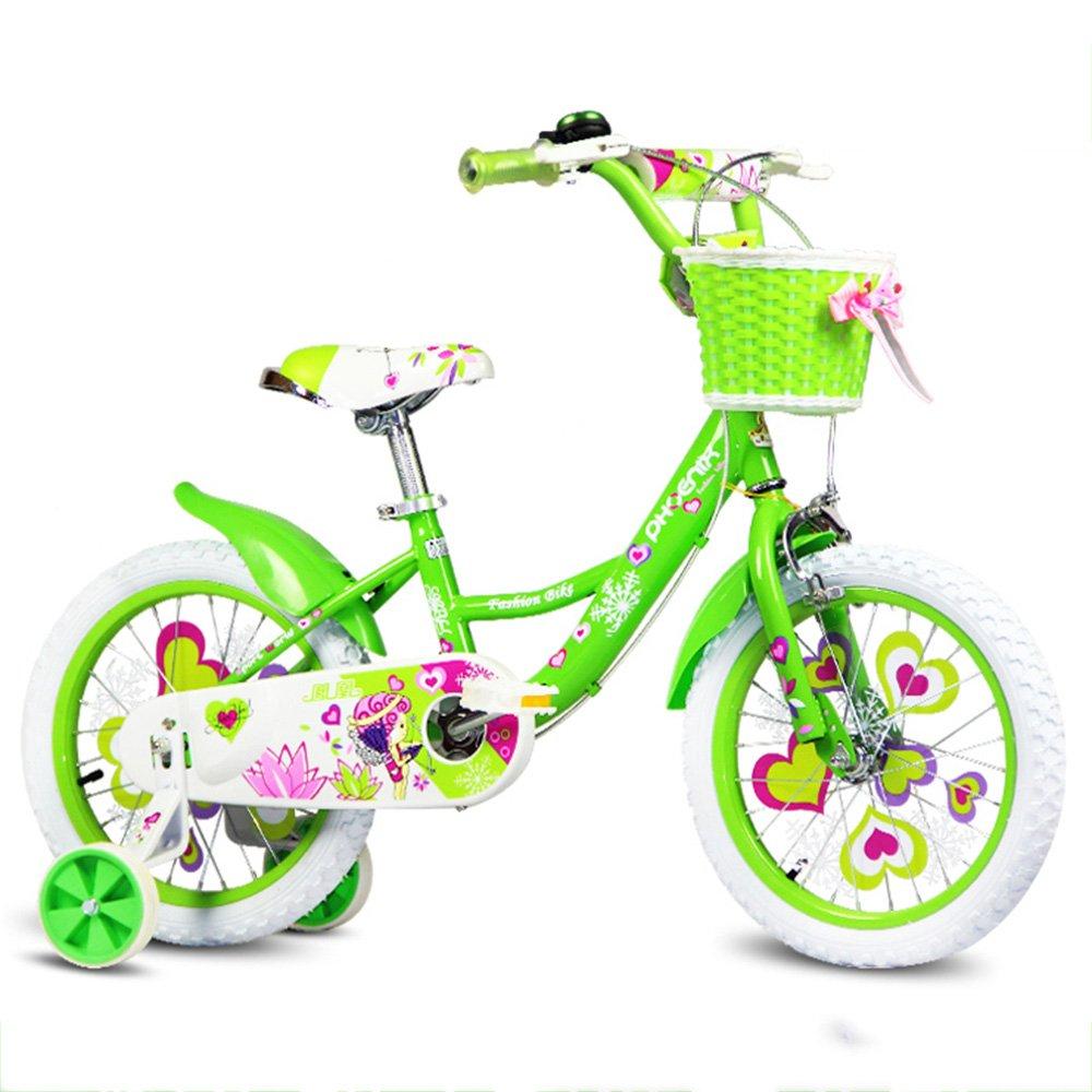 YANGFEI 子ども用自転車 自転車セット多色バタフライデザイン子供用自転車 212歳 B07DWSZBRQ 14Inch|緑 緑 14Inch