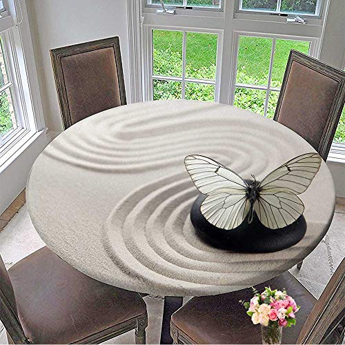 Mikihome Modern Simple Round Tablecloth Zen Stone Garden Decoration Washable 47.5
