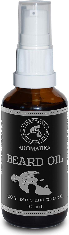 Aceite Natural de Barba y Bigote 50ml - 100% de Almendra Pura y Natural - Argan - Jojoba - Naranja - Aceite de Menta - Grandes Beneficios para Barba - Bigote - Cuidado de La Piel - Botella de Vidrio