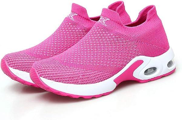 FeiTai - Zapatillas de Running para Mujer (Ligeras, sin Cordones, Transpirables, Acolchadas con amortiguación de Aire), Rojo (Rojo Rosa), 23 EU: Amazon.es: Zapatos y complementos