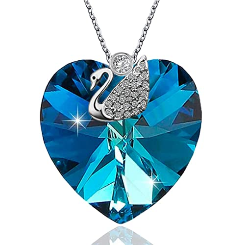 965b1dbd7 Kigmay Jewelry 925 Sterling Silver Blue Swarovski Crystal Bermuda Heart Pendant  Necklace with CZ Swan and