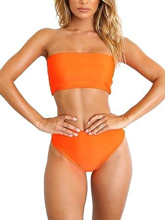 bfe740174677 Amazon.com: Bezsoo Women's Bikini Sets Bandeau Top High Waisted ...