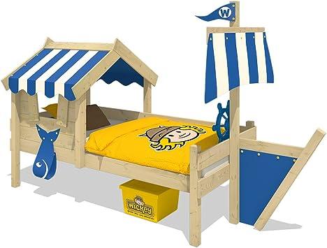 WICKEY Cama infantil con techo CrAzY Finny Cama para jugar con construcción del barco y vela Cama aventuras con somier de madera, azul