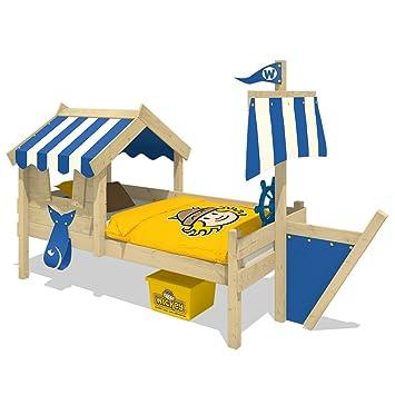 WICKEY Kinderbett mit Dach CrAzY Finny Spielbett mit Schiffanbau und Segel  Abenteuerbett mit Lattenboden, blau, 90x200 cm
