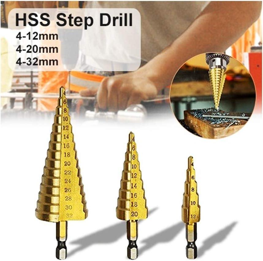 HSS Foret /étag/é 3 pi/èces SWISSWELL Hex Shank Lot de 4 forets /à conique en titane 4-12 mm 4-20 mm 4-32 mm jaune