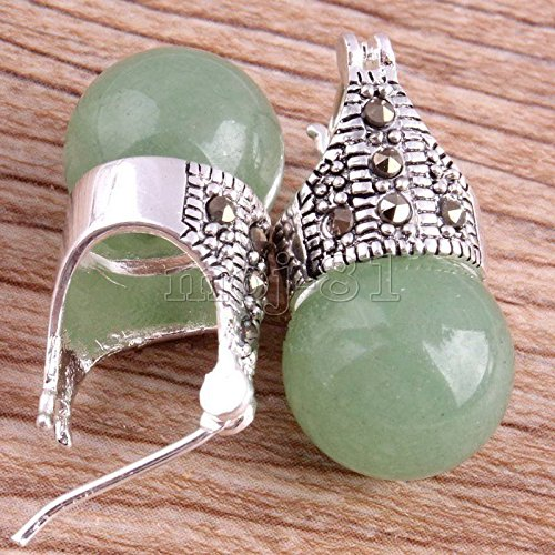- Natural 12mm Round Light Green Jade 925 Sterling Silver Marcasite Stud Earrings
